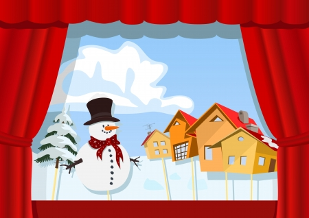 Christmas puppet theater.Village of snowman Stock Vector - 15171609