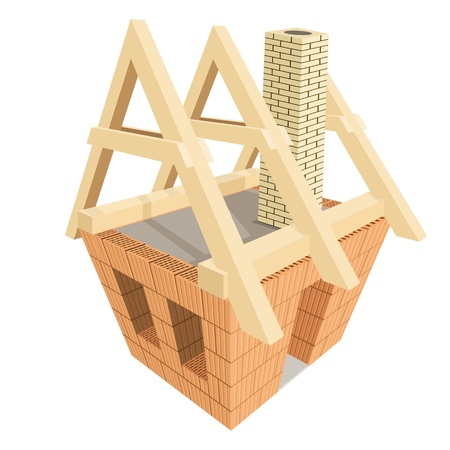 rafter: Structure of house in construction. Illustration  Illustration