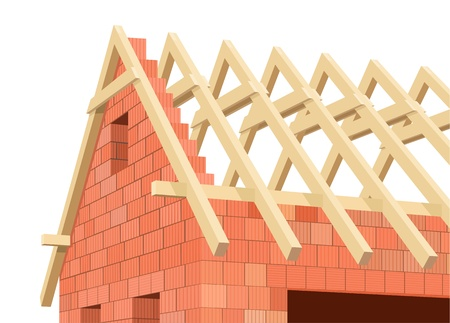 rafter: Structure of house in construction. Illustration