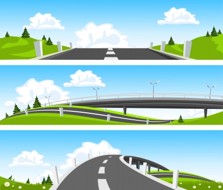 rural road: Way through nature. Vector Illustration