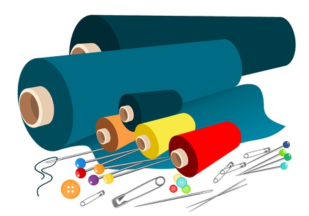 Vector fabric sewing accessories Vector
