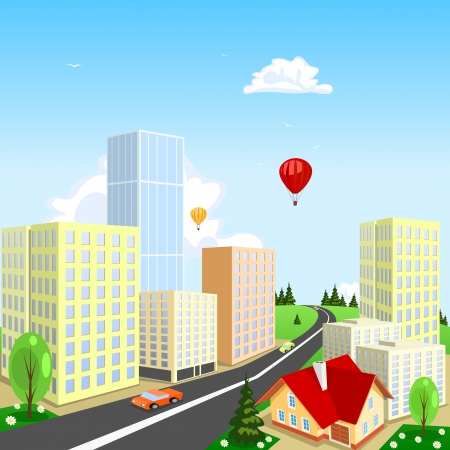 Vector city with a balloon in the background Stock Vector - 16007165