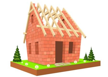 finestra: Illustrazione, Nuova casa incompiuta sulla verde erba