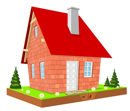 Illustration, New unfinished home on green grass Vector