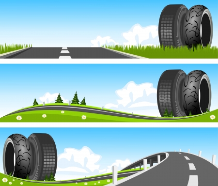 BANNER - Way through nature with tires Vector