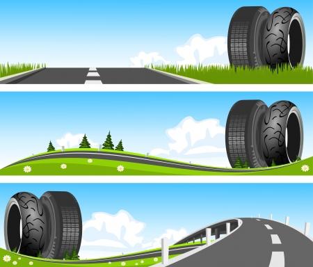 car tire: BANNER - Weg door de natuur met banden