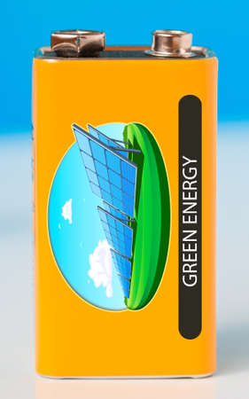 includes: Green energy battery, includes my illustration  Stock Photo