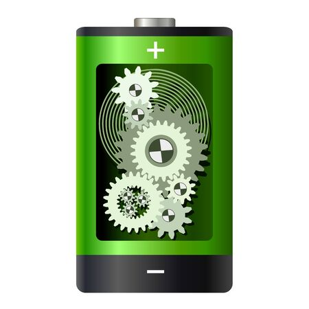 Abstract - battery with gear wheels inside Stock Vector - 16007158