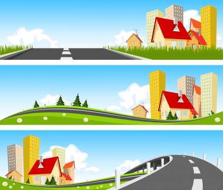 Ville et chemin à travers bannière nature Vecteurs