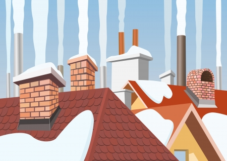Smoke rising from the chimneys Vector