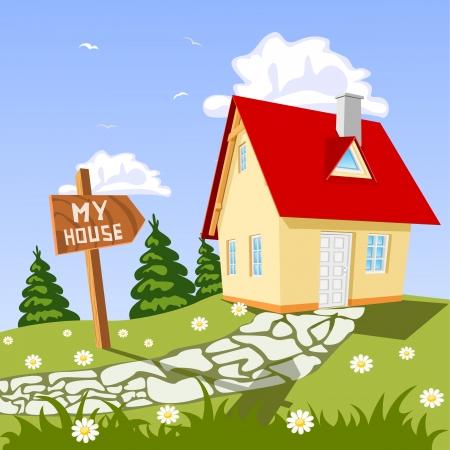 arquitecto caricatura: Mi casa en el campo Vectores