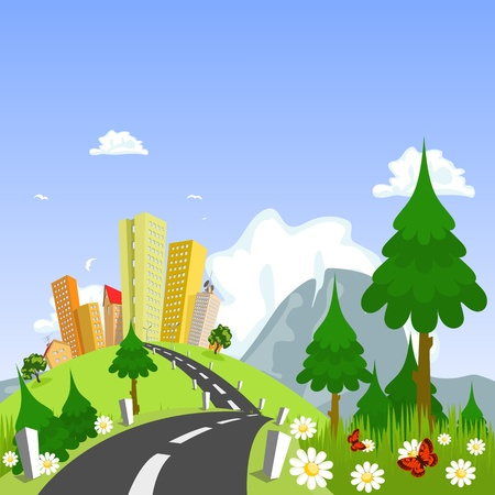 Nature theme from the city in the background Vector