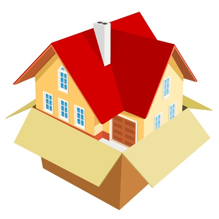 new house: New house out of the box Illustration