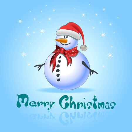 Blue greeting cards with christmas snowman Stock Vector - 16724892
