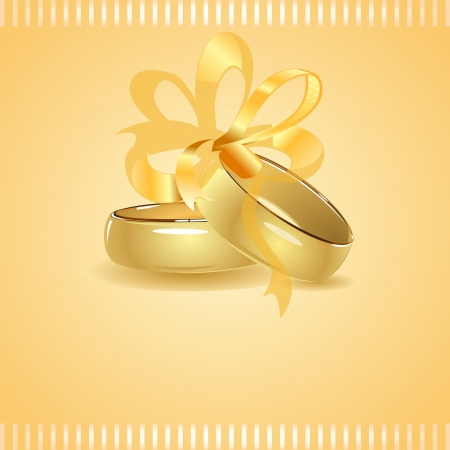 Two golden wedding rings tied up with ribbon Vector