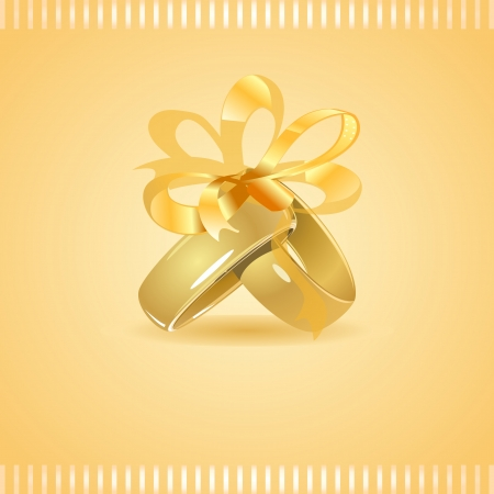 Two golden wedding rings tied up with ribbon Stock Vector - 16724891