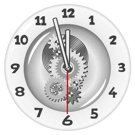 period: White clock. Five minutes to twelve