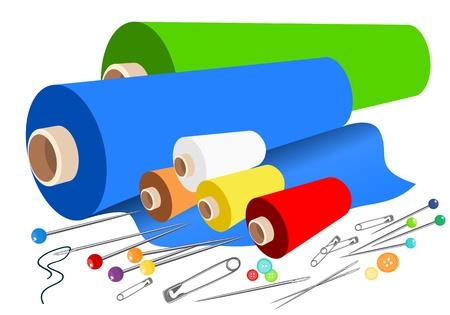 Accessoires en tissu à coudre vectorielle