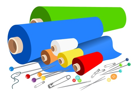 embroidery on fabric: Vector fabric sewing accessories