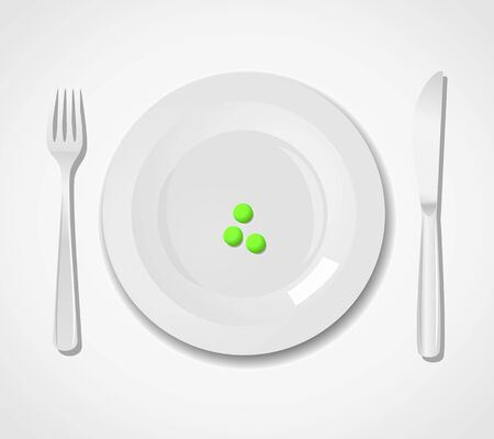 Diet concept. Three peas on a plate Stock Vector - 16757109