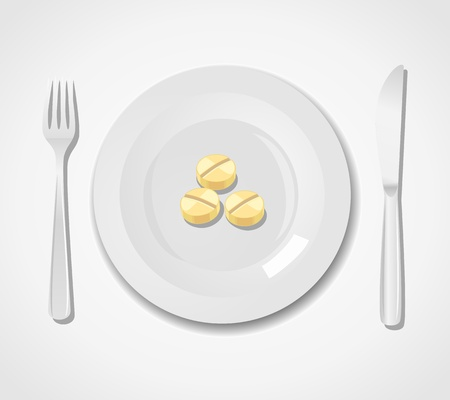 Diet concept. Three tablets on a plate Stock Vector - 16757108