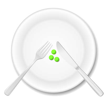 Diet concept. Three peas on a plate Stock Vector - 16757101