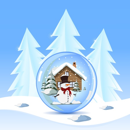 Blue greeting cards with christmas snowman Stock Vector - 16828344