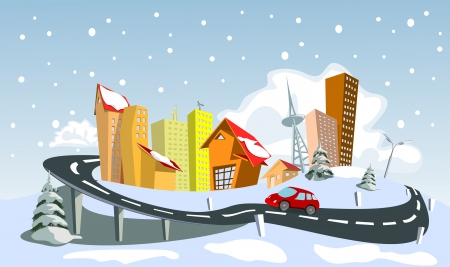 Colorful Winter abstract city.  Vector
