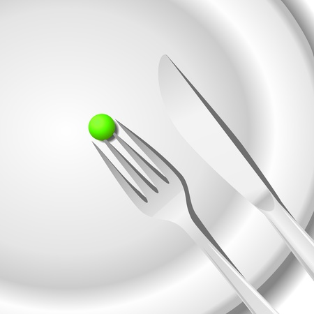 Diet concept. Peas on a plate Stock Vector - 16828337