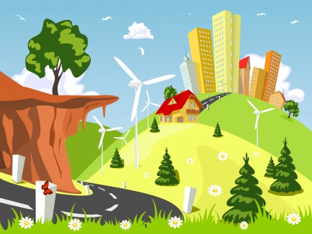 Nature theme from the city in the background Stock Vector - 16828343