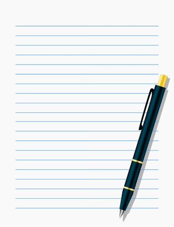 Blank workbook page with pen Vector