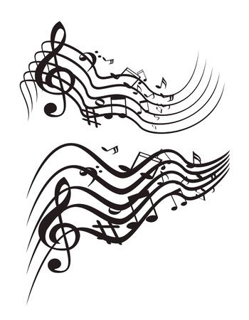 pentagrama musical: Tema musical. Vector ilustración.