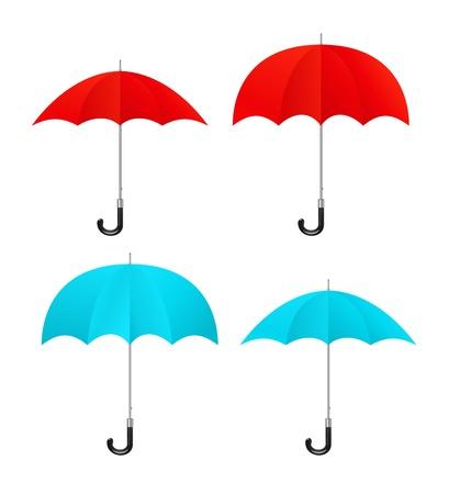 Set of vector red, blue umbrellas Stock Vector - 16877983
