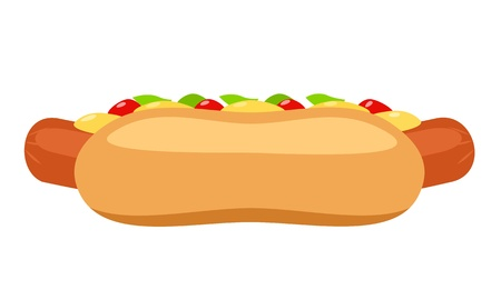 Illustration of hot dog with ketchup and mustard Stock Vector - 17111619