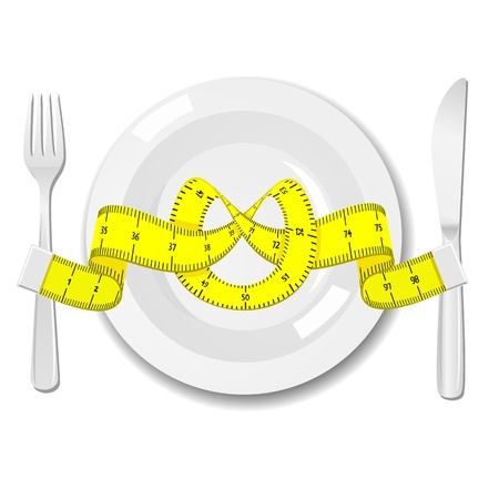 Plate with knife, fork and measure tape Stock Vector - 17111624