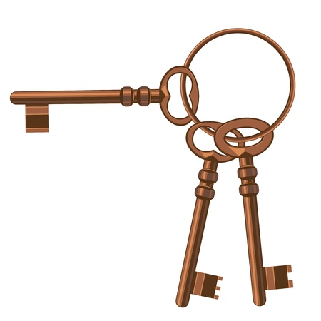 Un trousseau de clés anciennes. Illustration