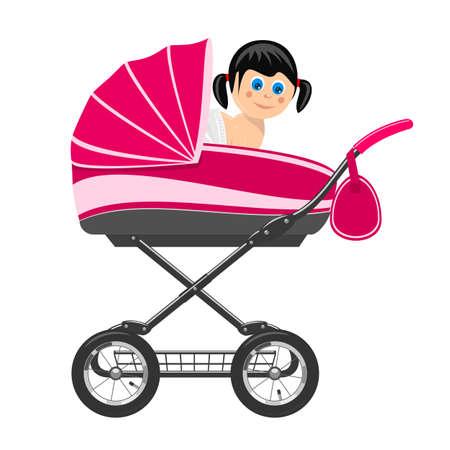 baby stroller: Cute baby girl sitting in stroller. Illustration