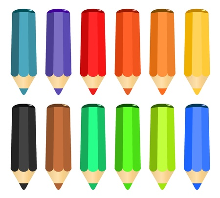 Cartoon set of colored wood pencils on the white background Stock Vector - 17249127