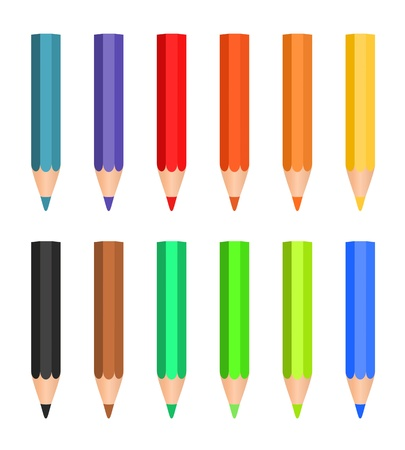 Cartoon set of colored wood pencils on the white background Stock Vector - 17249132
