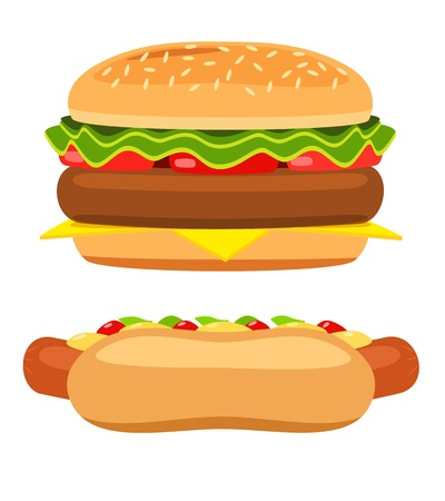 cartoon food: Hotdog and burger on white background  Illustration Illustration