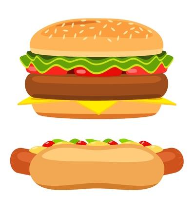Hotdog en hamburger op witte achtergrond Illustratie Stock Illustratie