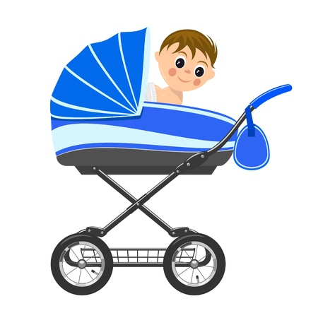 Cute baby boy sitting in stroller  Illustration Vector