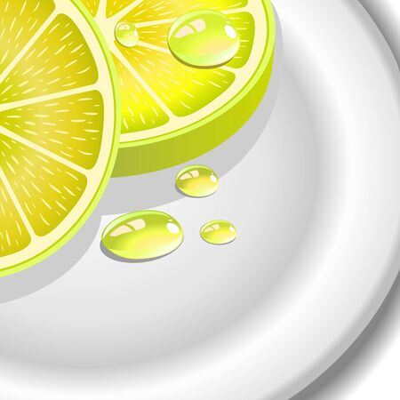 Close-up of a lemon slice with drops on the plate Stock Vector - 17282179