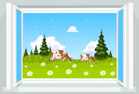 Spring scene through opened window, illustration Stock Vector - 17581057