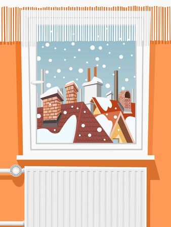 cartoon window: Winter scene through window, illustration