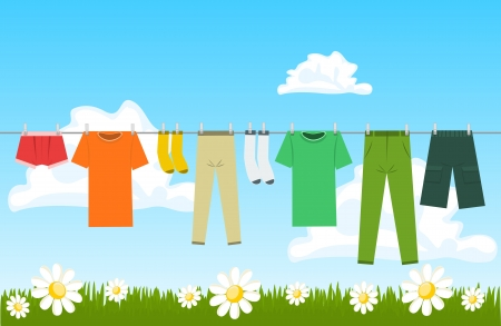 dirty clothes: Illustration of clothes drying outdoor