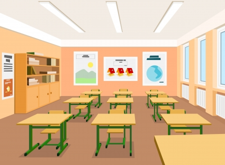 classroom training: Vector illustration of an empty classroom