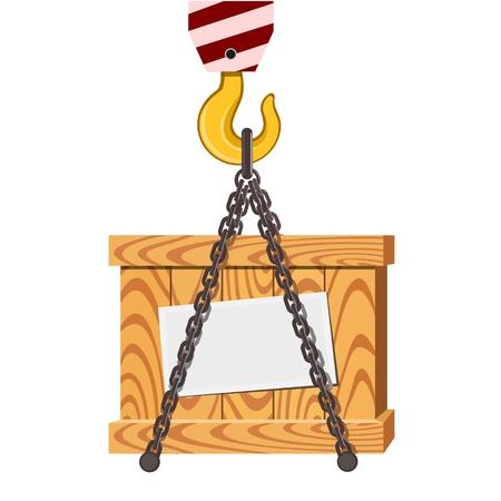 lading: Cargo transportation, crane hook and wooden box