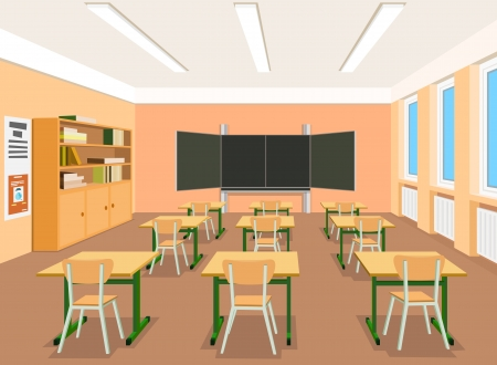 Vector illustratie van een leeg klaslokaal