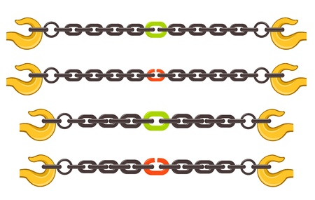 hooks: illustration set of chains - weak or strong link concept